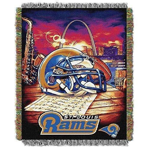 NFL Rams Throw Blanket 48 X 60 Football Themed Bedding Sports Patterned Team Logo Fan Merchandise Athletic Team Spirit Fan Navy White Polyester