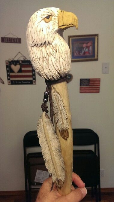 Eagle head staff by Don Cross