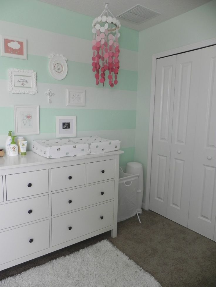 Mint Green + Coral = a match made in nursery heaven! {Visit projectnursery.com for more nursery inspiration}