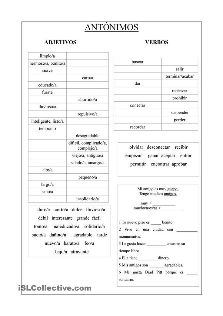 Adjetivos y Verbos (Antónimos)