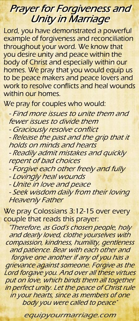 Marriage Prayer for Forgiveness and Unity - Colossians 3:12-15