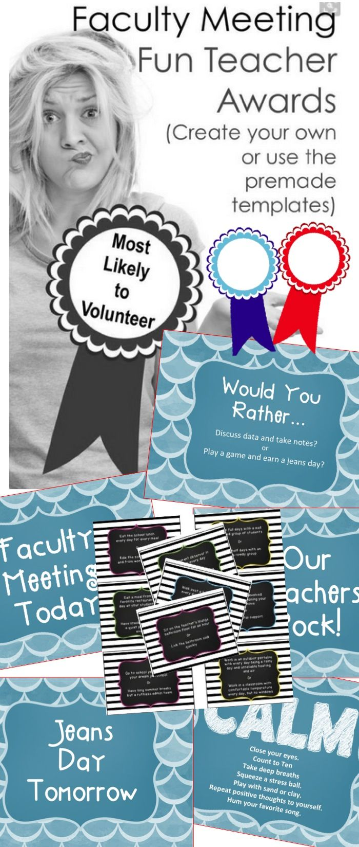 "un custom questions for teachers. Faculty ""Would You Rather"" Game for faculty meeting fun and stress relief. Plus Funny (or serious) Teacher Awards for Staff Meetings.  Some examples from the Would You Rather game:  Eat the school lunch every day for every meal during the week or Ride the school bus with your students to and from work every day  Eat a meal from your favorite restaurant every day at the lunch table with your students all year"