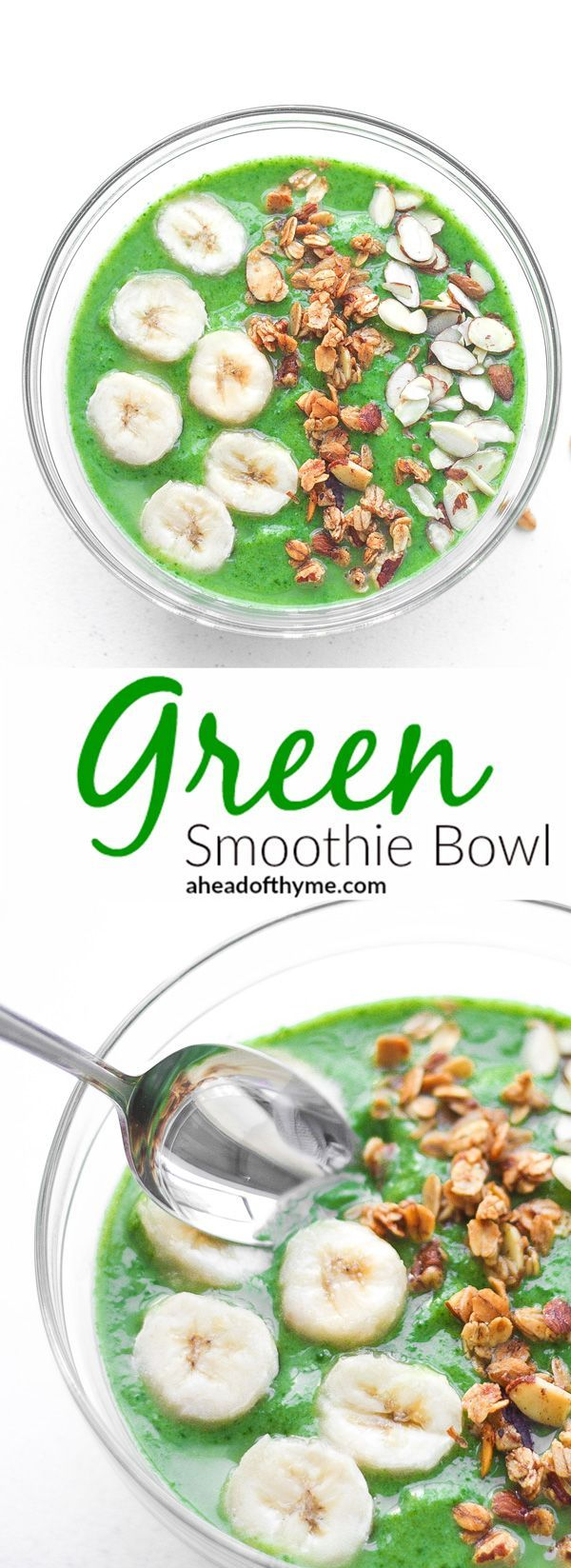 Green Smoothie Bowl: Start your morning right with a delicious, nutritious green smoothie bowl packed with spinach, avocado and banana. Quick and easy to make | aheadofthyme.com via @aheadofthyme