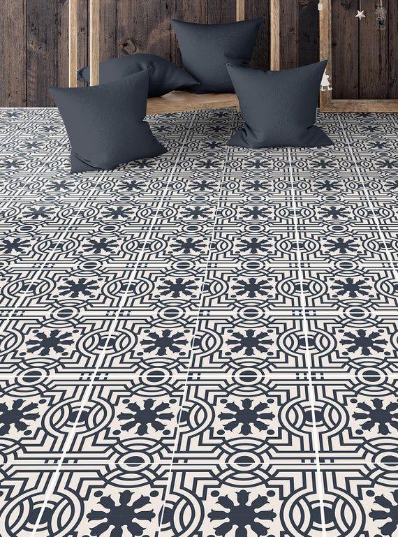 Blue Moroccan Floor Covering Sticker Geometric Pattern Etsy Vinyl Flooring Floor Coverings Flooring