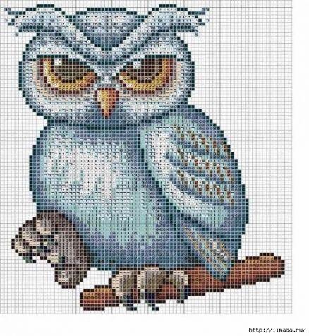 Схема вышивки подушки совы