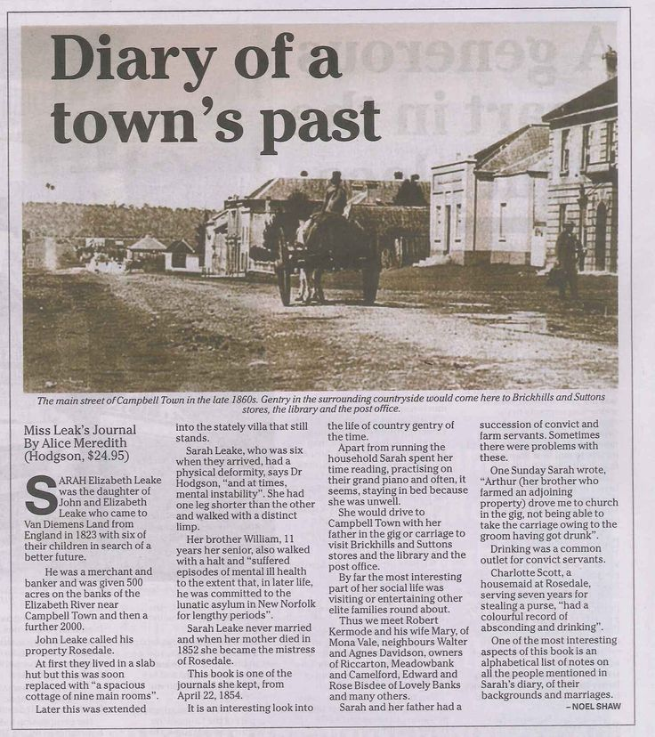 A fascinating read... The Leake family of Campbell Town, Tasmania