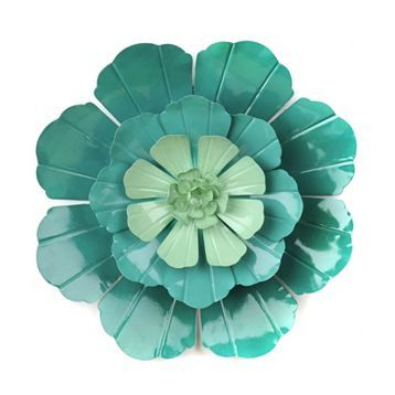 Product Details Turquoise Flower Ombre Metal Wall Art