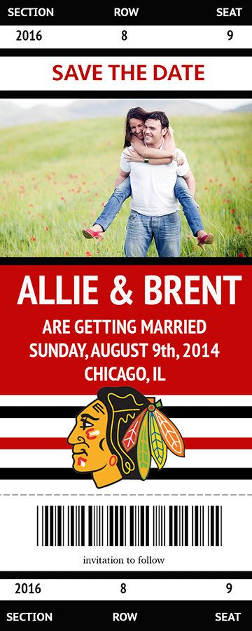 Custom Chicago Blackhawks Ticket Save the Date