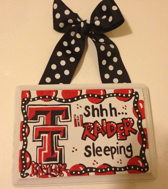 Texas Tech Raiders Baby Sleeping Sign Hand by TheCrazyPolkaDot, $25.00