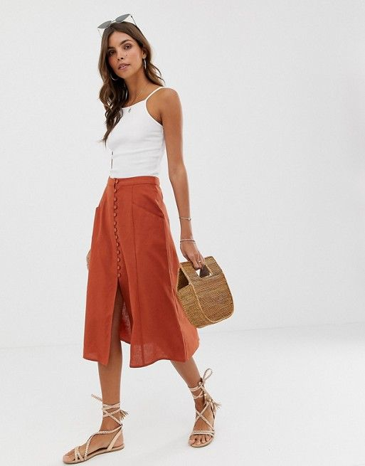 61c41f8fac164 DESIGN midi skirt with button front in 2019 | clothing time ...