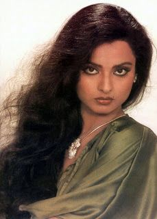 The seductive Bollywood Star Rekha and her sampaku eyes in a fashion essay from the 80's