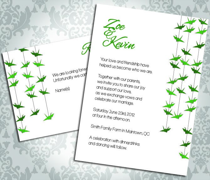 Wedding Invitation   Paper Crane