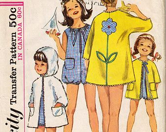1960s Simplicity 6033 Girls Playsuit And Beach Coat With Applique - Size 4 - Vintage Sewing Pattern