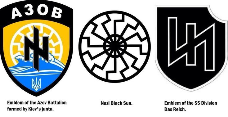 """""""The Azov Battalion -which displays the Nazi SS emblem– (below left) is described by the Kiev regime as """"a volunteer battalion of territorial defense"""". It's a National Guard battalion under the jurisdiction of the Ministry of Internal Affairs.  Officially based in Berdyank on the Sea of Azov, it was formed by the regime to fight the opposition insurgency in Eastern and Southern Ukraine. It is also financed by the US administration."""""""