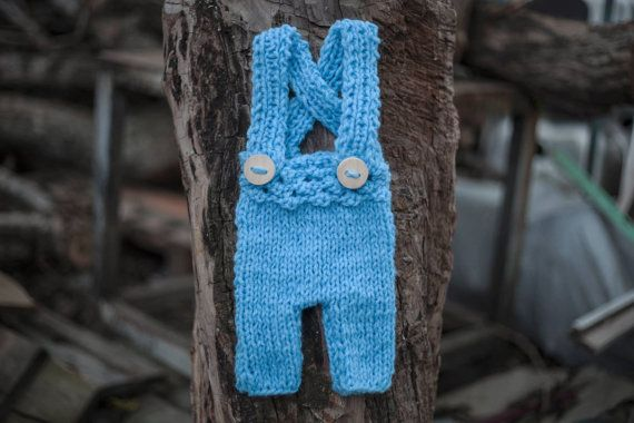 Blue Newborn Suspender Pants/ Baby Knit Pants/ by GabriCollection