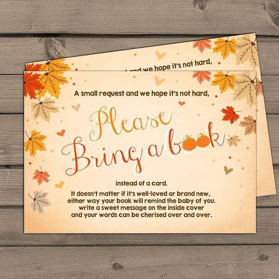 Autumn Baby Shower Bring A Book Fall Baby Shower Leaves Book Insert Books  For Baby Pumpkin Baby Shower Book Card PRINTABLE Instant Download