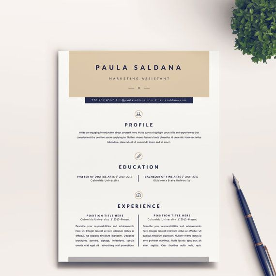 modern and professional resume template and free cover letter word template digital download teacher creative cv template