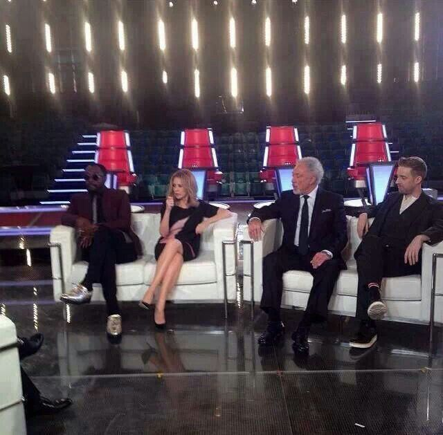 Will.I.Am, KYLIE, Sir Tom & Ricky Wilson being interviewed by Bill Turnbull For BBC News #TheVoiceUK #teamKYLIE #KM2013