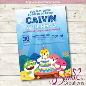 BABY SHARK BIRTHDAY PRINTABLE INVITATION | BABY SHARK PARTY INVITATION