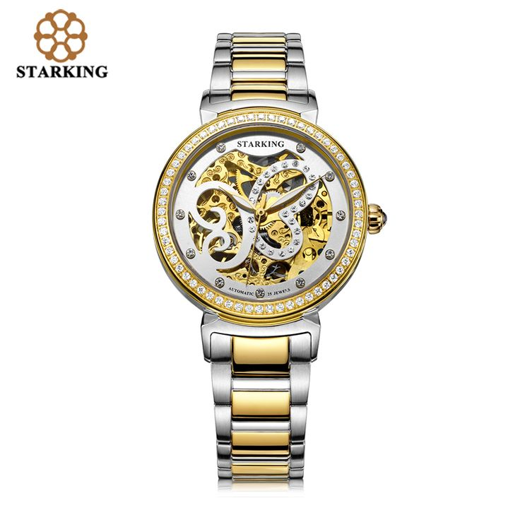 STARKING Women Automatic Mechanical Tourbillon Skeleton Watch 2016 New Arrival Luxury Brand Black And Gold Wrist Watch AL00181-inWomen's Watches from Watches on Aliexpress.com | Alibaba Group