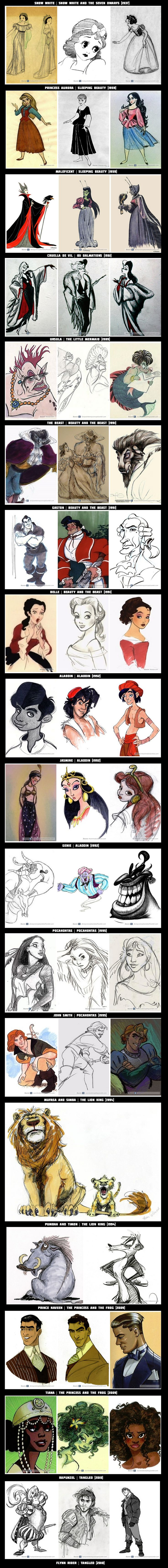 Disney concept art! So cool! But I didn't know they had an idea to make genie scary o.O