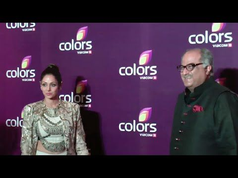 Sridevi with husband Boney Kapoor at Colors Leadership Awards 2015.