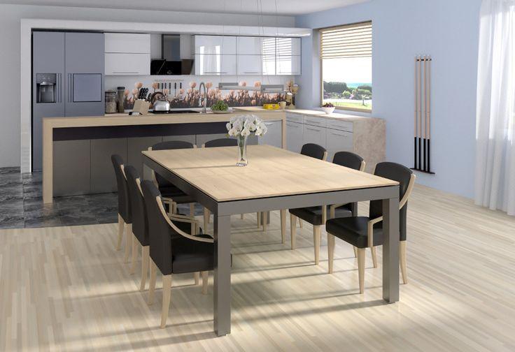 Cette table de salle à manger se révèle être également ... une table de billard !