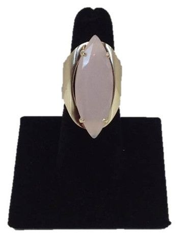 Light #pink agate stone gold #ring. Size 6.5. Plated with 18k gold. Limited one year warranty