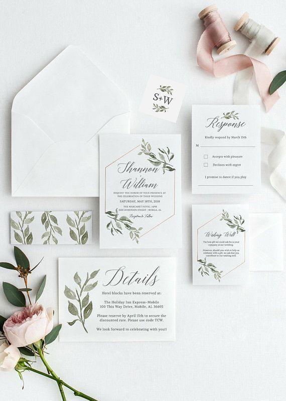 Greenery Wedding Invitation Template Download Invitation Etsy Square Wedding Invitations Wedding Invitation Templates Wedding Invitation Cards