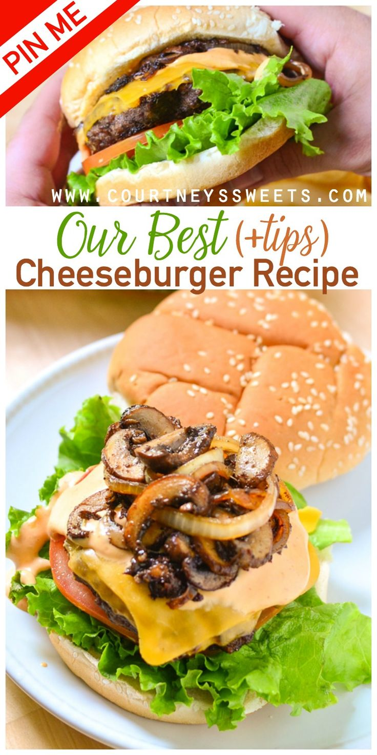 Do you know what makes this the best cheeseburger recipe? The toppings, the burger and the bun. It all equals the perfect combination! Make this for your next backyard bbq party and your guests will be begging for the recipe. via @CourtneysSweets