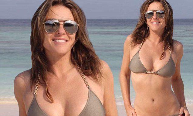 Elizabeth Hurley, 51, slips into tiny gold bikini | Daily Mail Online