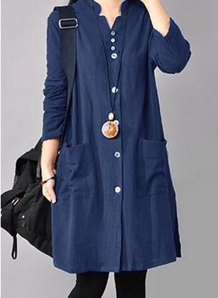 Solid Pockets Collar Knee-Length Shift Dress – Floryday @ floryday.com