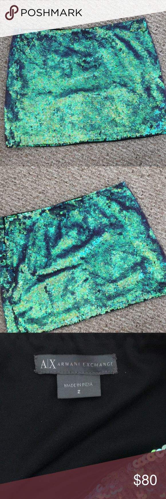 Armani Exchange Sequin Miniskirt Adorable blue/green mini skirt with sequins all over. Worn once. Size 2. Perfect condition. A/X Armani Exchange Skirts Mini
