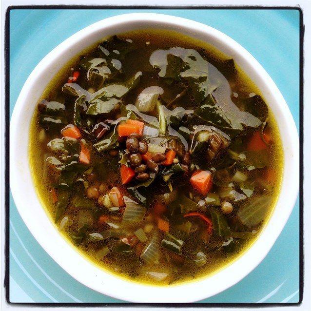 Lemon, Silverbeet and Lentil Soup under 100 cal