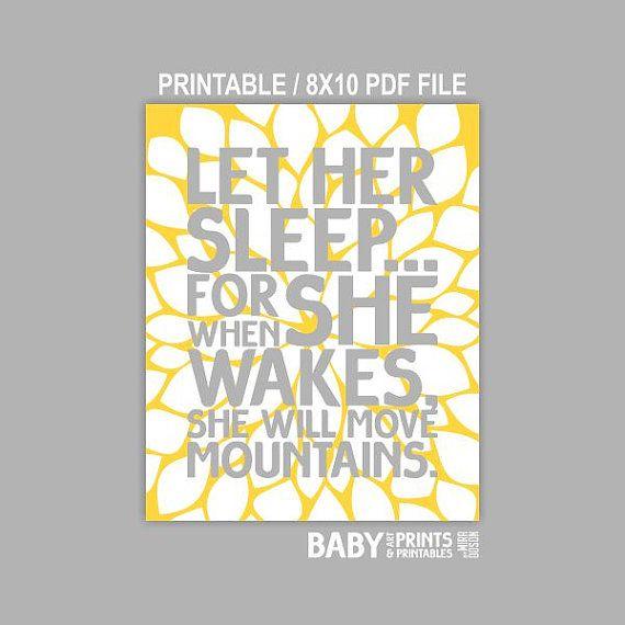 Printable Grey and Yellow nursery art Let her by babyartprints, $6.00