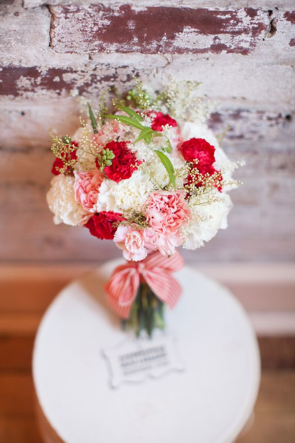 red, white, and pink bouquet // photo by Erin Forehand // view more: http://ruffledblog.com/red-and-white-wedding-ideas/