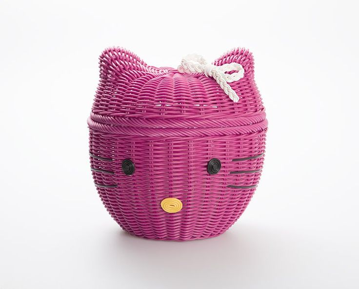 Hello Kitty Basket by Ayumi Katsuko. Home decor collection in colorful color and crafted from synthetic rattan with OWL shaped with size dimension Length: 31cm, Width: 21cm and Height: 26cm.  http://www.zocko.com/z/JJr2m