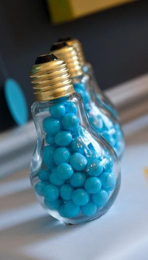 Graduation Party Favors: candy in lightbulbs! How cute!