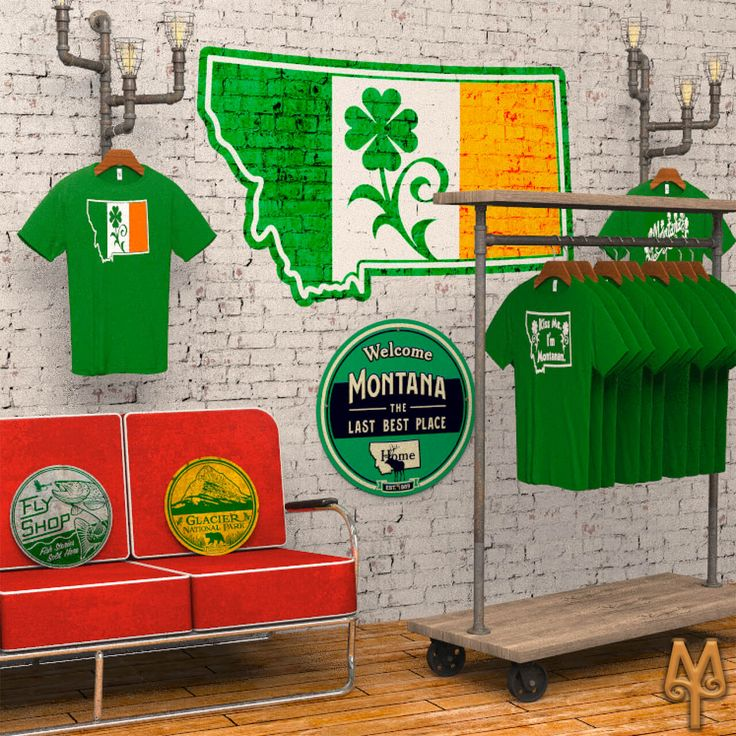 Montana Treasures Saint Patricks Day t-shirts and cabin decor. Shop today and get your green on! :)