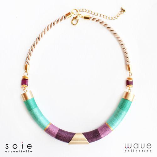 Soie essentielle jewellry #soiessentielle #wavecollection #silk #yarn #necklace #turquoise #lila #purple #gold