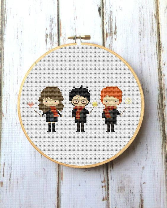 Harry Potter Cross Stitch Pattern Hermione Granger Ron Weasley