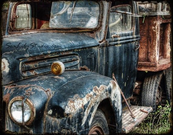 Route 66 11x14 : old truck photography relic abandoned truck photo vintage ford rust blue teal home decor fine art print
