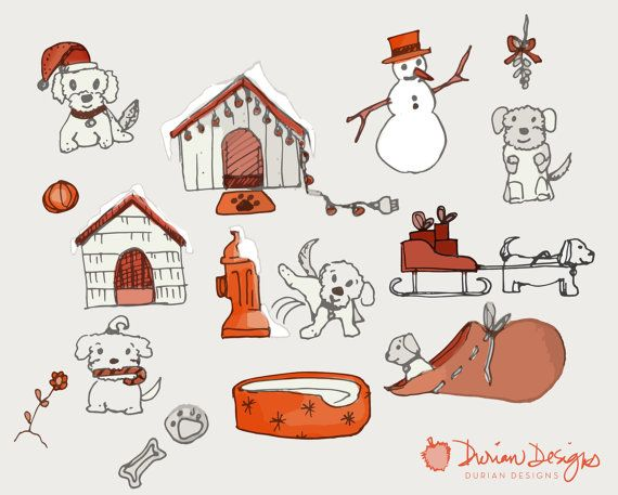 Christmas Puppies clipart commercial use, Maltese dogs clip art, hand drawn doggie sketch, red and gray, instant download — with images of white dogs, Santas sleigh, snowman, dog bed, doghouses, dog treats, fire hydrant, Santas red bag.  With this download, separate/individual image files are in PNG (transparent) format and JPG (white background) format. The smaller doghouse is 5 inches wide. The main preview (with all images compiled) is for demonstration purposes only. Note: You are pu...