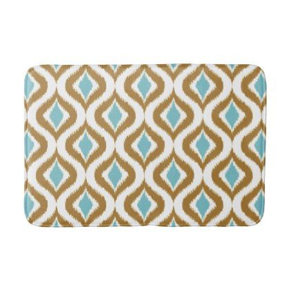 Brown Teal Turquoise Retro Chic Ikat Drops Pattern Bathroom Mat - classic gifts gift ideas diy custom unique