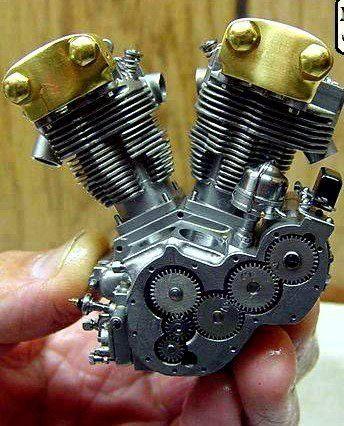 Operational miniature Harley Davidson engine