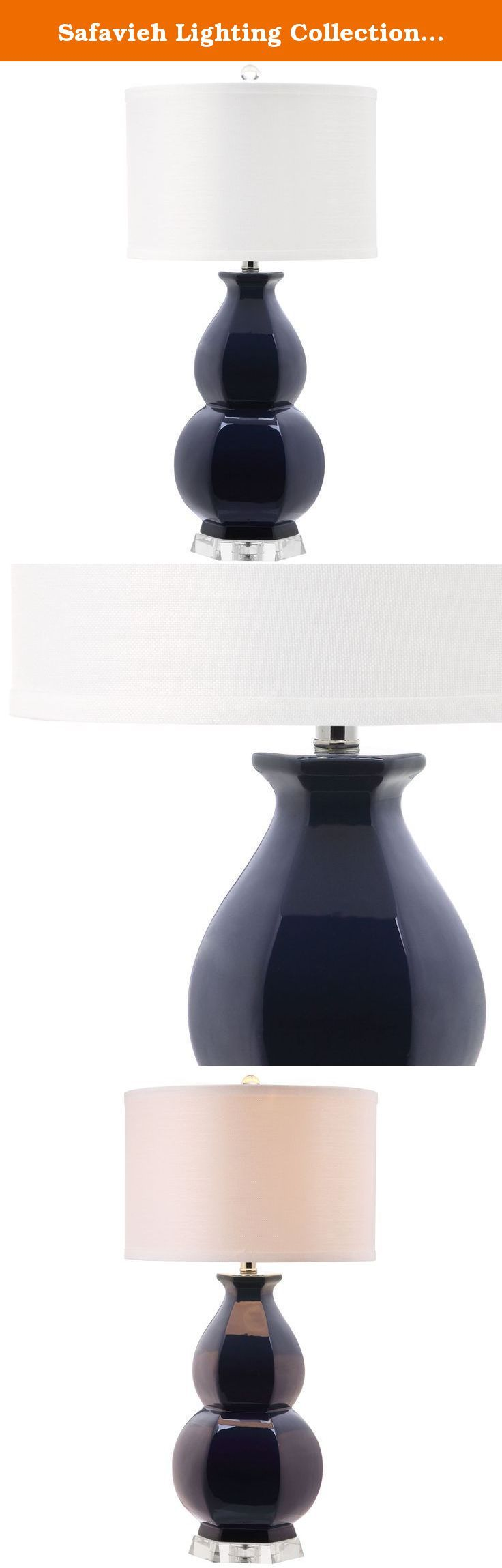 Safavieh Lighting Collection Jinuper Navy Navy 30.25-inch Table Lamp. A classic double gourd ceramic base gets a fashion update with faceted detailing in the navy blue juniper table lamp. This striking transitional lamp is finished with textured white cotton drum shade and modern see-through acrylic pedestal and finial.