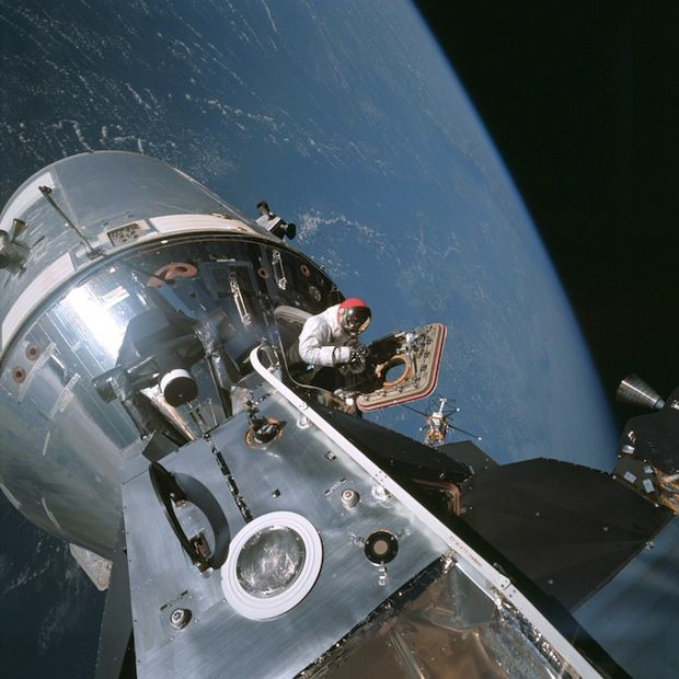 Apollo 9 astronaut Dave Scott emerging from the command module hatch. #space