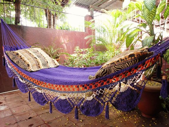 Violet Hammock, Hand Woven Natural Cotton with Special Fringe (Etsy $58 http://www.etsy.com/listing/84666872/violet-hammock-hand-woven-natural-cotton )