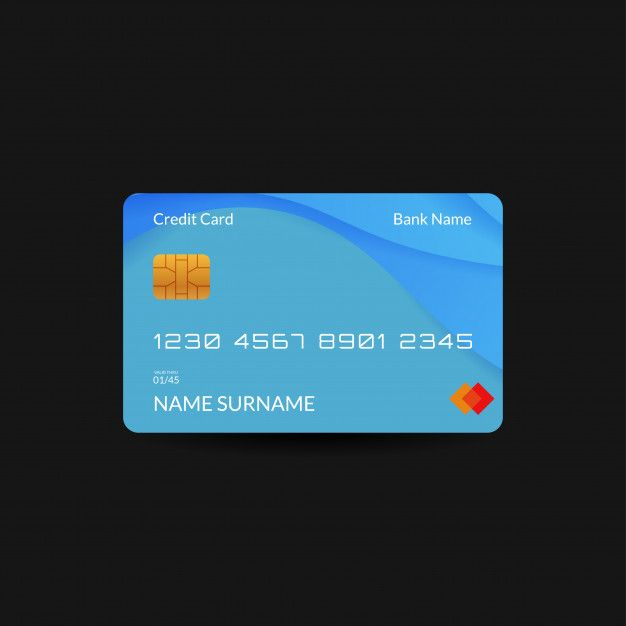 Blue Credit Card Template With Gradient Wave And Editable Text Credit Card Template Card Template Credit Card