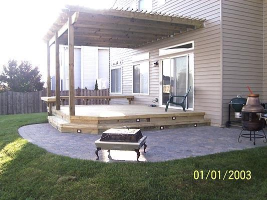 Combination project with a deck paver patio and pergola for Multi level patio designs